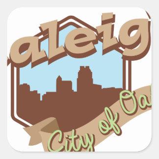 Raleigh-Stadt der Eichen Quadratischer Aufkleber