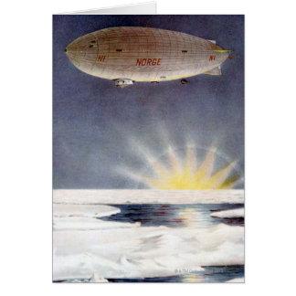 Raold Amundsens Luftschiff Norge über Nordpol Grußkarte