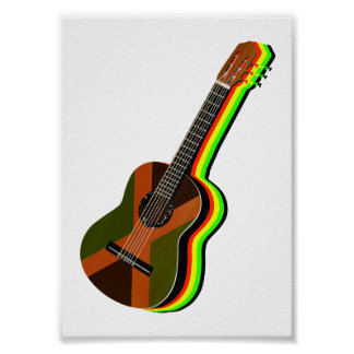 Rastafarian Reggae-Gitarre Jamaika Poster