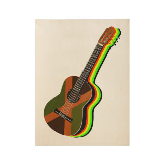 Rastafarian Reggae-Gitarren-jamaikanische Flagge Holzposter