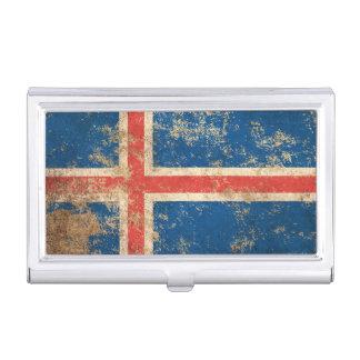 Raue gealterte Vintage isländische Flagge Visitenkarten-Halter