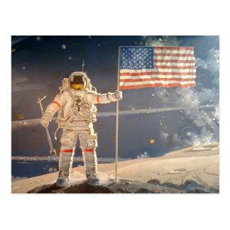 Raumfahrer-Pflanzen-Flagge auf der Mond-Kunst Postkarten