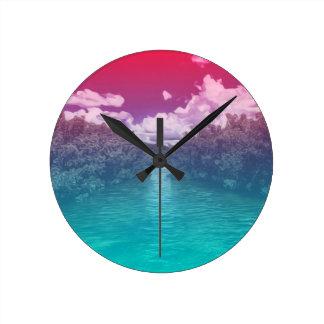 Rave-Liebhaber-Schlüssel-Trippy rosa blauer Ozean Runde Wanduhr