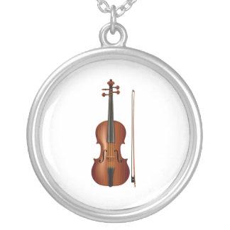 Realistische Grafik der Violine und des Bogens Versilberte Kette