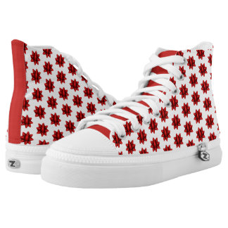 Realistisches rotes Weihnachtsbogen-Muster Hoch-geschnittene Sneaker