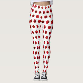 Realistisches rotes Weihnachtsbogen-Muster Leggings