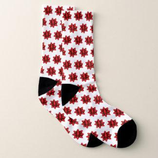 Realistisches rotes Weihnachtsbogen-Muster Socken