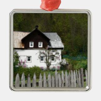 Rebe bedeckte Hütte mit rustikalem hölzernem Quadratisches Silberfarbenes Ornament