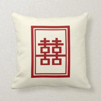 Rechteck-doppeltes Glück-chinesisches Kissen