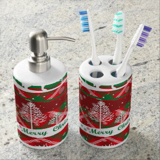 Red and green christmassy Bath Set Badezimmer-Set