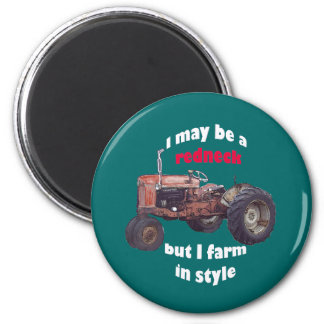 redneck_tractor runder magnet 5,1 cm