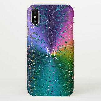 Reflektierendes Regenbogen-Musiknoten-Monogramm iPhone X Hülle