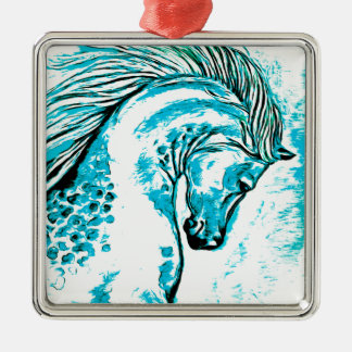 Regenbogen arabisches Manga aquamarin Silbernes Ornament