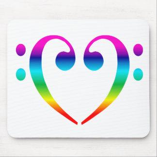Regenbogen-Bassschlüssel-Herz Mousepads