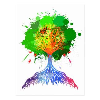 Regenbogen-Baum des Lebens Postkarte