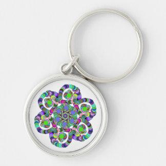 Regenbogen-Blume Silberfarbener Runder Schlüsselanhänger