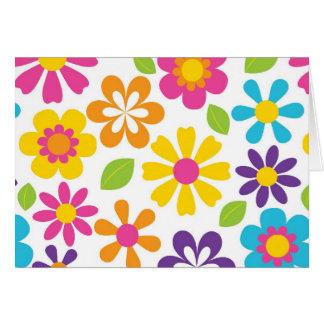 Regenbogen-Blumen-PowerHippieRetro Teens-Geschenke Mitteilungskarte