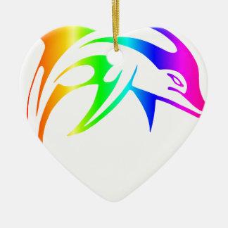 Regenbogen-Delphin Keramik Herz-Ornament