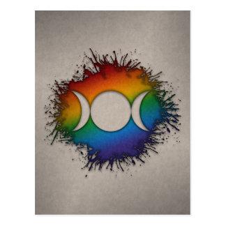 Regenbogen-dreifacher Göttin-Mond Postkarte