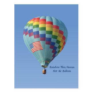 Regenbogen durch Himmels-Heißluft-Ballon Postkarte