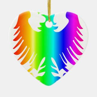 Regenbogen Eagle Keramik Herz-Ornament