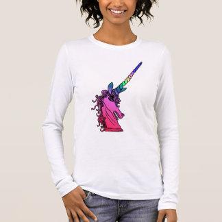 Regenbogen-Einhorn-Miniatur-Emblem-langes Langärmeliges T-Shirt