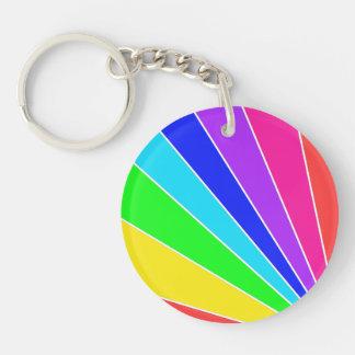 Regenbogen-Explosion Beidseitiger Runder Acryl Schlüsselanhänger