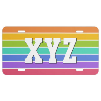 Regenbogen färbt kundenspezifisches US nummernschild
