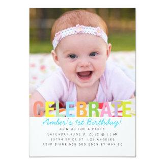 Regenbogen feiern Geburtstags-Party einladen 12,7 X 17,8 Cm Einladungskarte