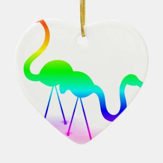 Regenbogen-Flamingos Keramik Ornament