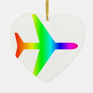 Regenbogen-Flugzeug Keramik Ornament