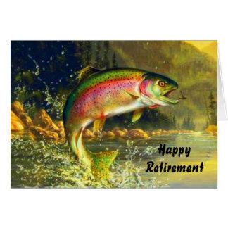Regenbogen-Fluss-Forelle-springende Ruhestands-Kar Grußkarten