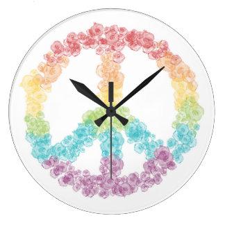 Regenbogen-Friedenszeichen-Uhr Große Wanduhr