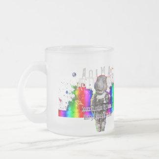 Regenbogen-Galaxie-Raum-Flusspferd-Tier-Astronaut Matte Glastasse
