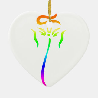 Regenbogen Ganesha #2 Keramik Herz-Ornament