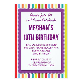 Regenbogen-gestreifte Mädchen-Geburtstags-Party Ankündigungskarte