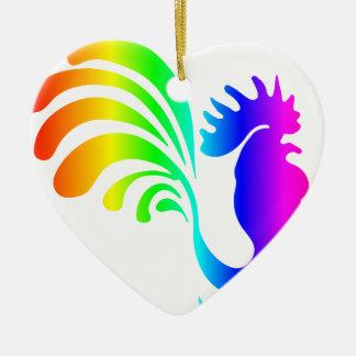 Regenbogen-Hahn #2 Keramik Ornament
