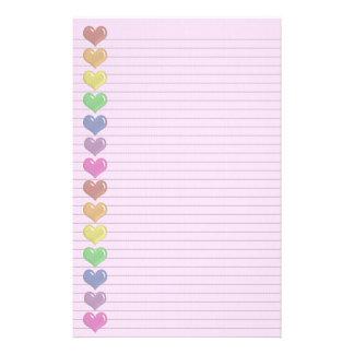 Regenbogen-Herz-Grenzoptionale Linien Briefpapier