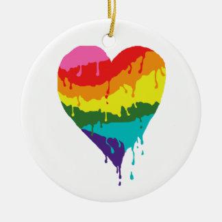 Regenbogen-Herz Keramik Ornament