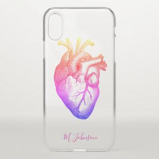 Regenbogen-Herz personalisiert iPhone X Hülle