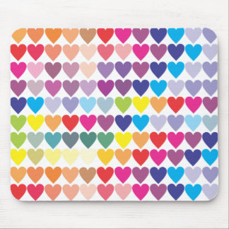 Regenbogen-Herzen Mousepads
