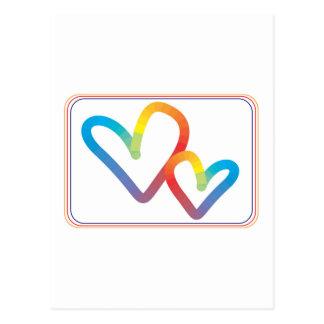 Regenbogen-Herzen zusammen für immer Postkarte