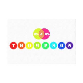Regenbogen-Hochzeits-Brett für 8 Leinwand Drucke