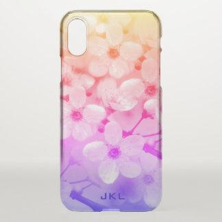 Regenbogen-Kirschblüten-Monogramm iPhone X Hülle