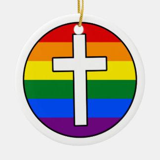 Regenbogen-Kreuz Keramik Ornament