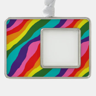 Regenbogen-Muster Rahmen-Ornament Silber