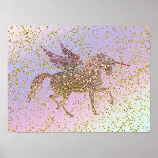 Regenbogen-PastellgoldGlitzerunicorn-Pegasus-Pferd Poster