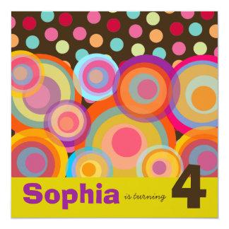 Regenbogen-Pop kreist Kindergeburtstag-Party Quadratische 13,3 Cm Einladungskarte