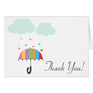 Regenbogen-Regenschirm-neutrale Babyparty danken Karte