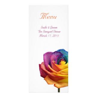 Regenbogen-Rosen-Hochzeits-Menü-Gestell-Karte Werbekarte